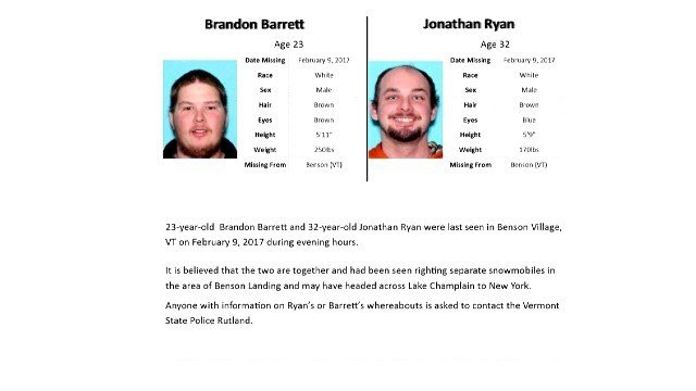 Vermont troopers: Search suspended for missing snowmobilers