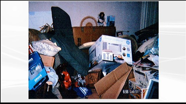 A room inside Erlandsson's home that Skaskiw says is an example of typical hoarding behavior.